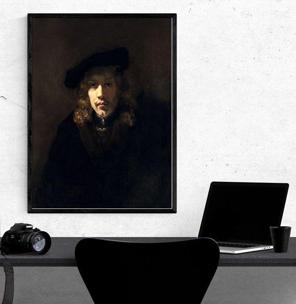 Man in a Beret, Rembrandt - plakat
