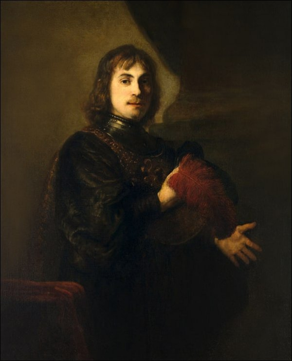 Portrait of a Man with a Breastplate and Plumed Hat, Rembrandt - plakat