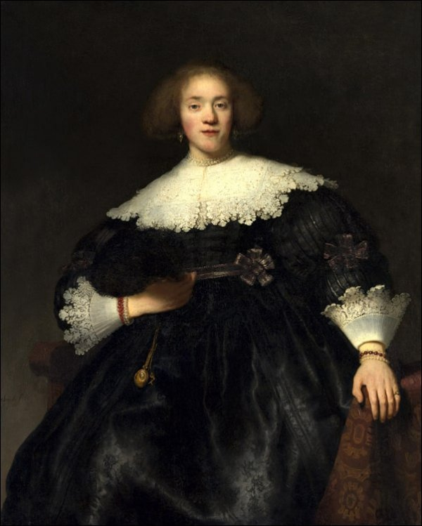 Portrait of a Young Woman with a Fan, Rembrandt - plakat