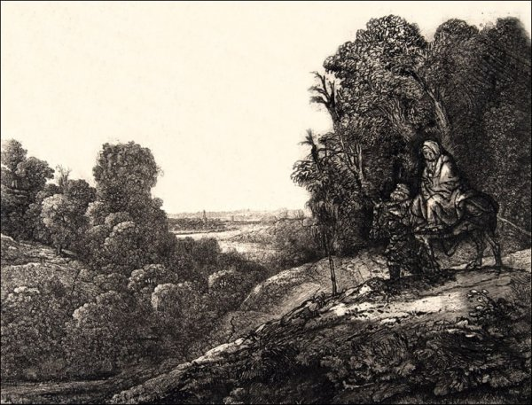 Flight into Egypt Altered from Tobias and the Angel by Hercules Segers, Rembrandt - plakat