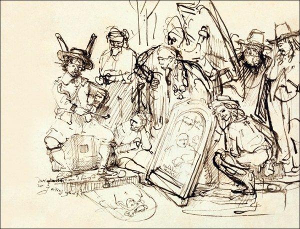 Satire on Art Criticism, Rembrandt - plakat