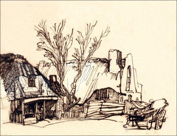 Two Cottages, Rembrandt - plakat
