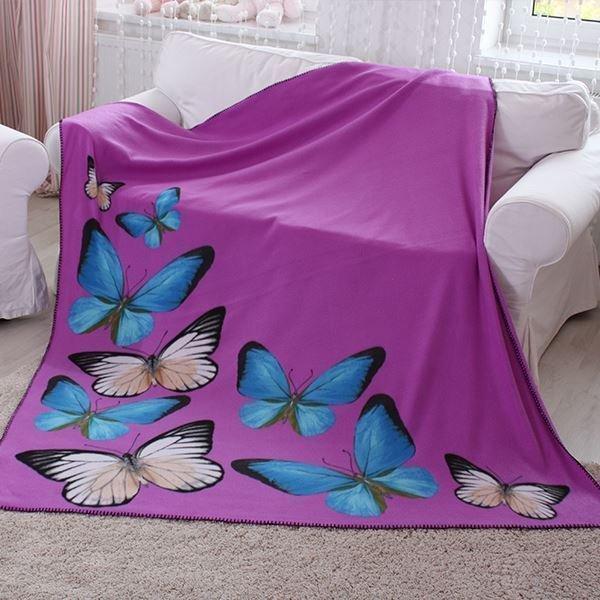 Koc Butterfly 150x200cm motyle Fioletowy