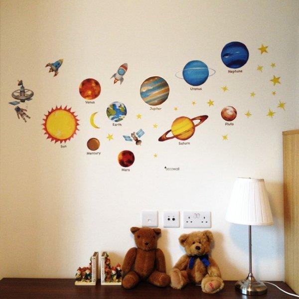 Naklejki układ słoneczny - planety i gwiazdki