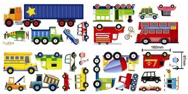 Naklejki pojazdy - autobus, cieżarówka, betoniarka.