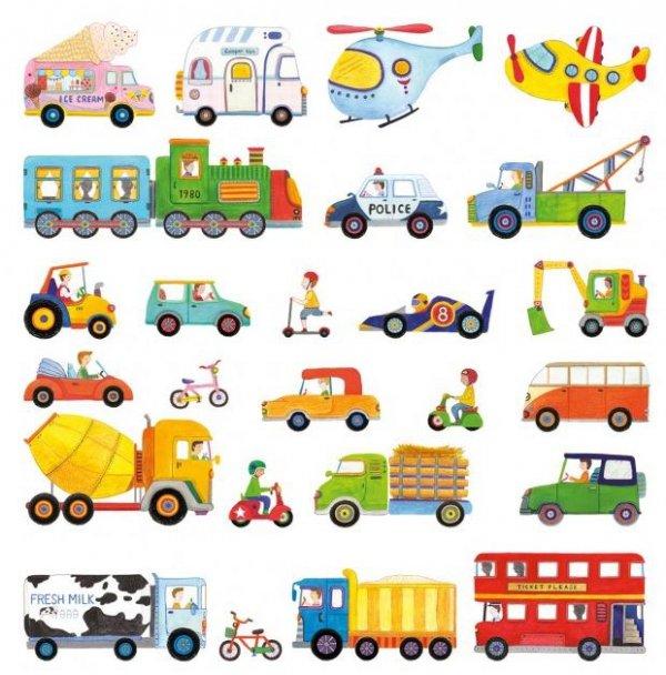 Naklejki pojazdy autobus, cieżarówka, betoniarka, pociag