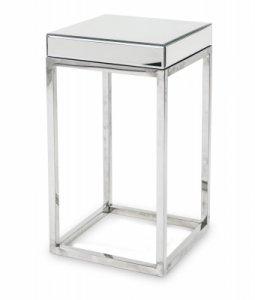 Stolik metalowo-szklany srebrny