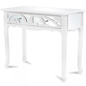 Drewniana konsola z szufladami biała