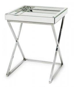 Bardzo gustowny elegancki stolik z metalu i szkła