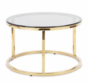 Okrągły stolik szklany transparentny blat złota rama