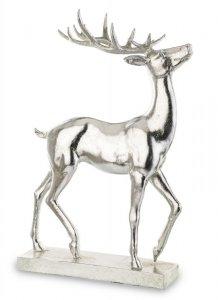 Srebrna dekoracyjna figurka jeleń na podstawce