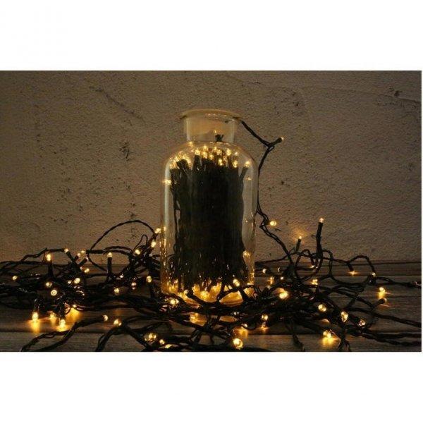 LAMPKI 100 LED Z DODAKOWYM GNIAZDEM CIEPŁY BIAŁY