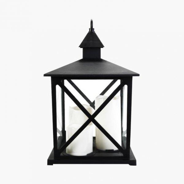 LATARNIA LED CZARNA LAMPION ŚWIECZNIK DEKORACYJNY LED ŚWIECZKI