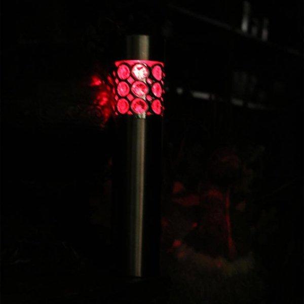 LAMPA SOLARNA SREBRNA SŁUPEK LAMPION ŚWIECZNIK