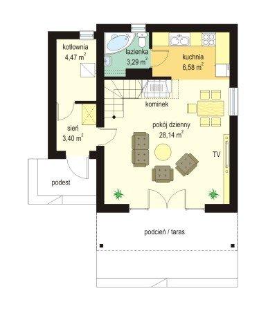 Projekt domu Chatka II pow.netto 69,25 m2