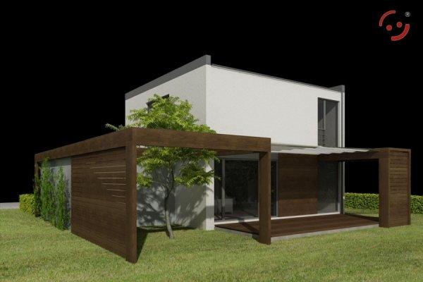 Projekt domu nowoczesnego MN4820G pow. 98,05+23,50 m2