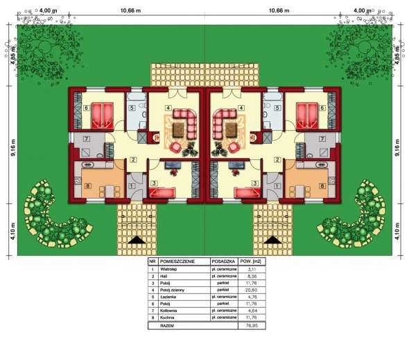 Projekt domu na wąską działkę Bliźniak Kwiat Paproci