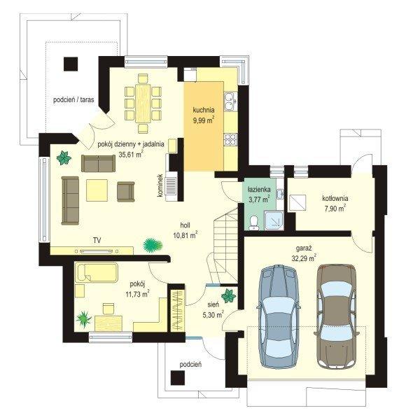 Projekt domu Turkus pow.netto 157,61 m2