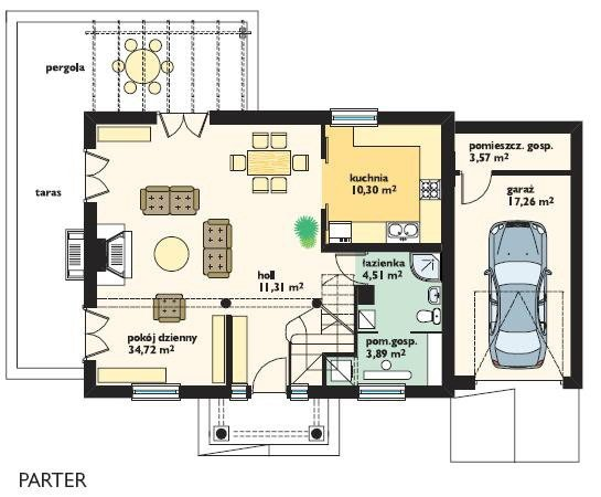 Projekt domu Bajkowy II pow.netto 134,59 m2