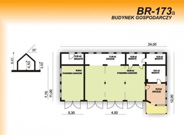Projekt budynku gospodarczego BR-173a pow. 231.00 m2  (możliwość adaptacji na warsztatu samochodowy)