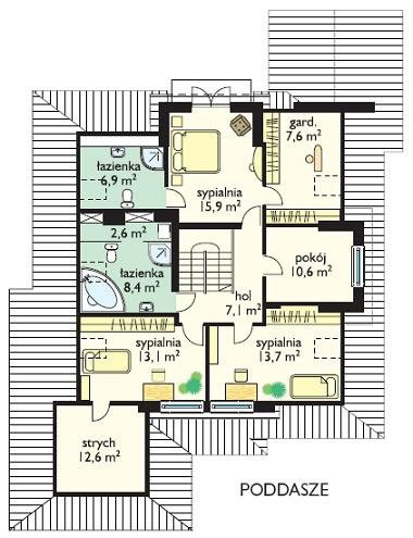 Projekt domu Hornówek pow.netto 211,59 m2