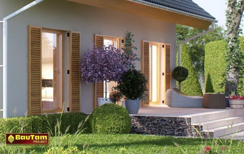 Projekt domu pasywnego murowany - Dom Aleksandra (wersja lustrzanego odbicia)