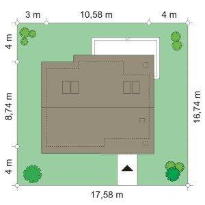 Projekt domu Bonifacy pow.netto 63,03 m2