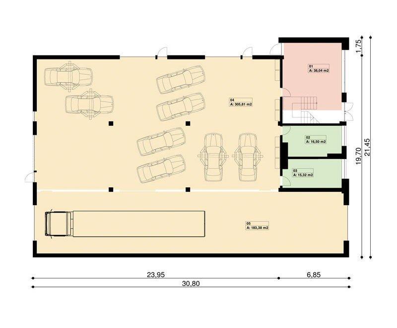 Projekt warsztatu samochodowego ze stacją kontroli pojazdów PS-SS-H4 pow. 635.00 m2