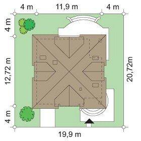 Projekt domu Gwiazda pow.netto 168,4 m2