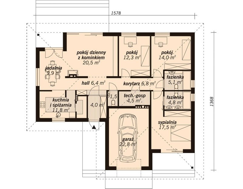 Projekt domu parterowego DG17