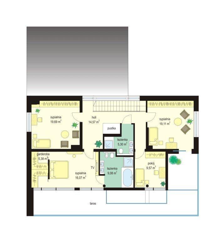 Projekt domu Willa słoneczna pow.netto 279,28 m2