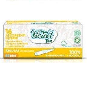 VIVICOT BIO Tampony higieniczne z aplikatorem REGULAR, kompostowalne niebielone 16 sztuk