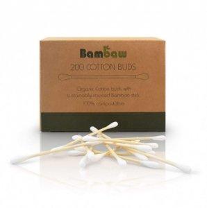 BAMBAW Patyczki do czyszczenia uszu, bambusowe z bawełną organiczną, biodegradowalne, 200 szt.