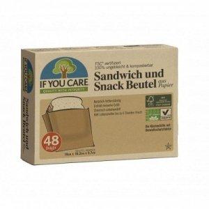 IF YOU CARE Papierowe torebki na kanapki i przekąski kompostowalne 48 sztuk