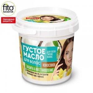 Gęsty olejek do włosów zniszczonych na bazie oleju kokosowego, 155 ml - Fitokosmetik