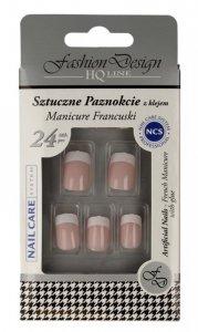 Top Choice Fashion Design Sztuczne paznokcie z klejem - Manicure francuski (77968)  1op.-24szt