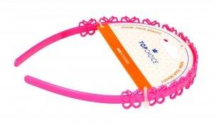 Top Choice Opaska do włosów w różowe motylki (27918)  1szt