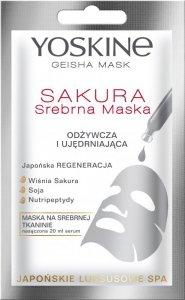 Yoskine Geisha Mask Sakura Srebrna Maska na tkaninie odżywcza i ujędrniająca  20ml