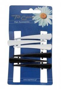 Top Choice Spinki do włosów typu dzioby czarne i białe (24993)  1op.-6szt