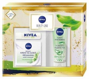 Nivea Zestaw prezentowy Beauty Care (krem n/dzień 50ml+peeling 75ml+pomadka 4.8g)