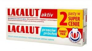 Lacalut Pasta do zębów DUO (Activ 75ml + przeciw próchnicy 75ml)
