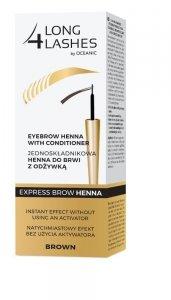 Long 4 Lashes Jednoskładnikowa Henna do brwi z odżywką -  Brown  6ml