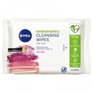 Nivea Chusteczki oczyszczające do twarzy i oczu - cera sucha (biodegradowalne) 1op.-25szt