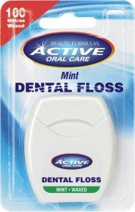 Beauty Formulas Active Oral Care Nić dentystyczna miętowa woskowana