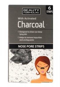 Beauty Formulas Charcoal Płatki oczyszczające na nos z aktywnym węglem  1op.-6szt