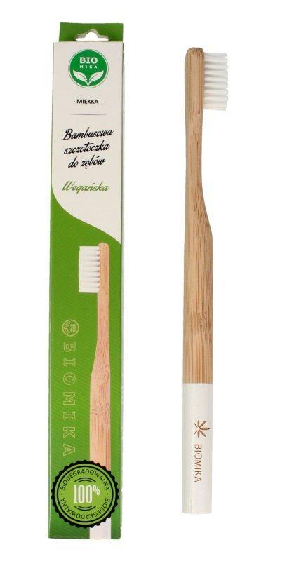 Biomika Szczoteczka do zębów bambusowa miękka - białe włosie  1szt