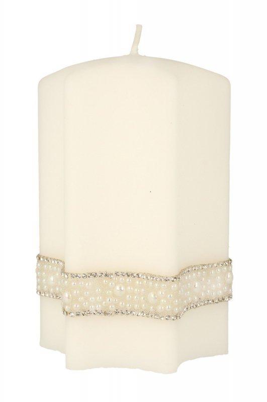 ARTMAN Boże Narodzenie Świeca ozdobna Crystal Pearl biała - gwiazda średnia 1szt
