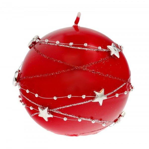 ARTMAN Boże Narodzenie Świeca ozdobna Girlanda  czerwona - kula średnia 1szt