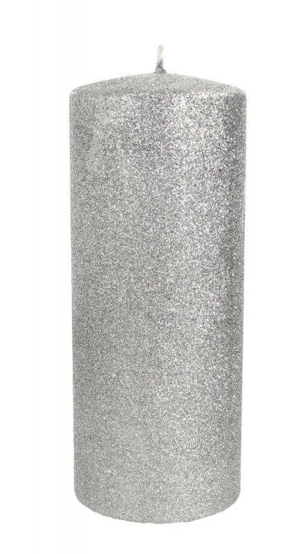 ARTMAN Świeca ozdobna Glamour srebrna - walec duży 1szt