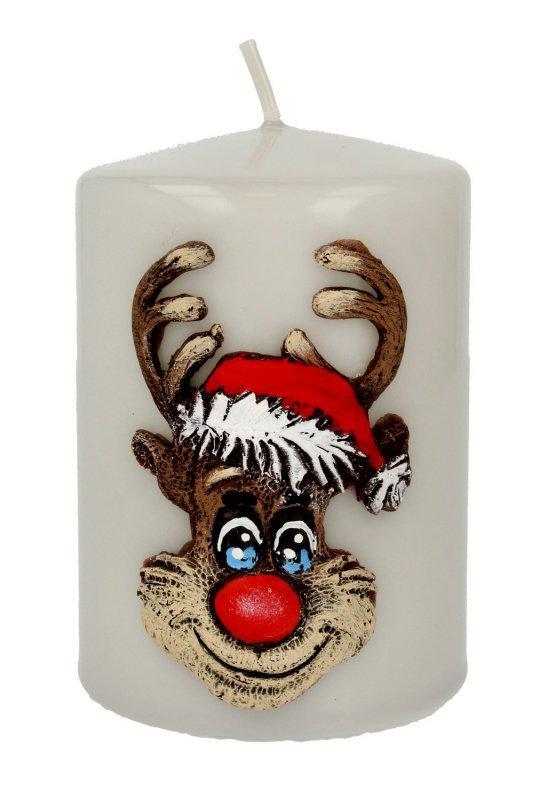 ARTMAN Boże Narodzenie Świeca ozdobna Rudolf szara - walec mały 1szt